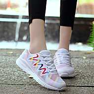 Feminino-Tênis-Conforto-Salto Baixo-Branco Preto-Náilon Tule-Ar-Livre Casual Para Esporte