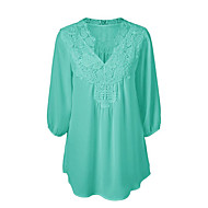 Women's Plus Size Street chic Spring Summer Blouse,Solid V Neck ½ Length Sleeve Polyester Medium