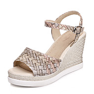 Women's Sandals Spring Summer Slingback Creepers Comfort Leatherette Outdoor Dress Casual Wedge Heel Buckle Braided Strap Hollow-out