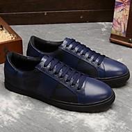 Herren-Sneaker-Lässig-Leder-Flacher Absatz-Komfort-Schwarz Blau