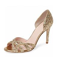 Feminino-Sandálias-D'Orsay Sapatos clube-Salto Agulha-Dourado Prata-Courino-Casamento Social Festas & Noite