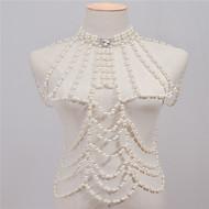 Dámské Tělové ozdoby Tělo Chain / Belly Chain Retro Ručně vyrobeno Módní Napodobenina perel Štras Slitina Bílá Šperky ProHalloween