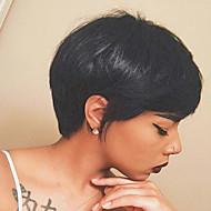 Натуральный преобладающий частичный бахрома черный короткий волос человеческий волос парик для женщин