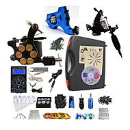 Complete Tattoo Kit 3  Machines Black Hurrican Dual Digital LED Power Supply  Liner & Shader