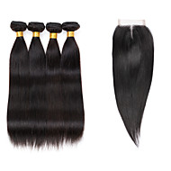 7A Brazilian Human Virgin Hair Straight 4*4 Lace Closure With 4 Bundles Hair Weft
