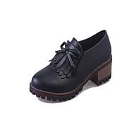 נשים-נעליים ללא שרוכים-דמוי עור-נעלי בובה (מרי ג'יין)-שחור בז'-שטח יומיומי ספורט-עקב עבה