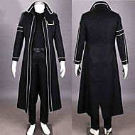 Inspired by Sword Art Online Kirito/Kazuto Kirigaya Anime Cosplay Costume Black Solid/Patchwork Cloak/Pants/Shoulder Armor/Gloves Male/Female