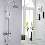 Art Deco/Retro Wall Mounted Handshower Included with  Ceramic Valve Two Handles Three Holes for  Ti-PVD , Shower Faucet