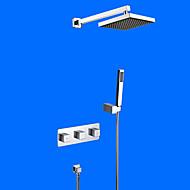 Současné Nástěnná montáž Dešťová sprcha Včetne sprchové hlavice with  Keramický ventil Dvěma uchy čtyři otvory for  Pochromovaný ,