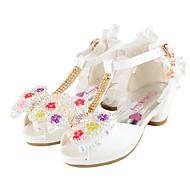 Svatební obuv-Třpytky Koženka-Pohodlné Novinky Flower Girl Boty-Dívčí-Bílá Růžová-Svatba Šaty Běžné Party-Plochá podrážka