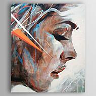 Kézzel festett Emberek Függőleges,Modern Egy elem Vászon Hang festett olajfestmény For lakberendezési