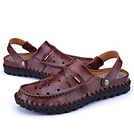 メンズ サンダル ライト付きソール 穴の靴 レザー 春 夏 オフィス カジュアル フラットヒール ブラック Brown レッド フラット