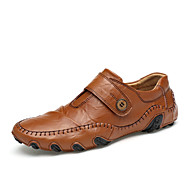 Men's Loafers & Slip-Ons Spring Fall Comfort Cowhide Leather Outdoor Athletic Casual Flat Heel Buckle Brown Black