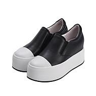 נשים-נעליים ללא שרוכים-עור-נוחות--יומיומי-עקב וודג'