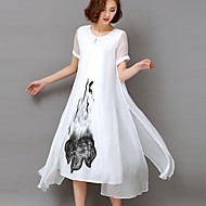 Women's Plus Size Going out Party Vintage Sophisticated Swing Dress,Print Round Neck Midi Short Sleeve Rayon All Seasons High Rise