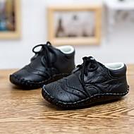 Jente Baby Flate sko Komfort Lær Vår Høst Avslappet Komfort Flat hæl Svart Rød Rosa 2,5 - 4,5 cm