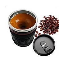 1本エミュレーションカメラレンズステンレススチールインナーキッチンダイニングバーホームオフィスミルクティーコーヒー自己攪拌マグカップスタイルランダム