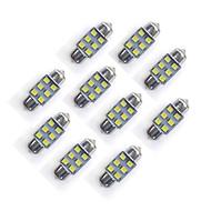 10 pcs 31 milímetros 6 * 2835 smd levou carro lâmpada luz branca dc12v