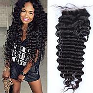 Δαντέλα μετωπιαίο κλείσιμο 4 * 4 μπραζιλιανό βαθύ κύμα παρθένο μαλλιά ελεύθερο / μεσαίο / τριών τεμαχίων κλείσιμο λευκασμένα κόμπους