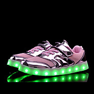 Mädchen-Sneaker-Outddor Lässig Sportlich-Tüll PU-Flacher Absatz-Komfort Neuheit Light Up Schuhe-Gold Silber Rosa
