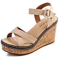 Ženske Sandale Udobne cipele Kašmir Ljeto Kauzalni Hodanje Udobne cipele Kopča Puna potpetica Crn Zelen Badem 7 cm - 9.5 cm