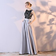 Formal Evening Dress Ball Gown Scoop Ankle-length Lace Satin Chiffon with
