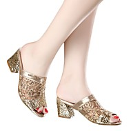 Women's Sandals Summer Comfort Microfibre Casual Chunky Heel Silver Gold