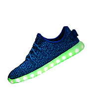 Men's Sneakers Light Up Shoes Yeezy Shoes Couple Shoes Light Soles Tulle  Flat Heel Blue Green Red Gray Black Walking Shoes