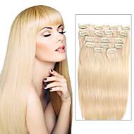 7 szt / set kolor 613 plaża klip blond włosy złoto w przedłużanie włosów 14inch 18inch 100% ludzki włos