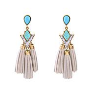 Hoop Earrings Crystal Tassel Euramerican Personalized Chrome Geometric Blue Jewelry For Housewarming Thank You Business 1 pair