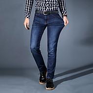 Herren Einfach Mittlere Hüfthöhe Mikro-elastisch Jeans Gerade Schlank Hose einfarbig