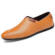 גברים-נעליים ללא שרוכים-עור-נוחות-לבן שחור חום בהיר-יומיומי-עקב שטוח