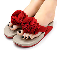 Feminino-Chinelos e flip-flops-Chanel-Rasteiro-Roxo Vermelho-Borracha-Casual