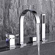 Zeitgenössisch 3-Loch-Armatur Mit ausziehbarer Brause with  Keramisches Ventil Zwei Griffe Vier Löcher for  Chrom , Badewannenarmaturen