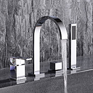 Současné Široká baterie Výsuvný rozprašovač with  Keramický ventil Dvěma uchy čtyři otvory for  Pochromovaný , Vanová baterie