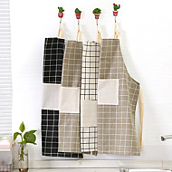 Nordic Style Cotton Check Plain Lattice Apron (Random Colors)