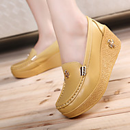 Damen Schuhe Leder Frühling Herbst Creepers Loafers & Slip-Ons Creepers Für Normal Weiß Gelb Blau