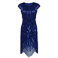 Cocktail Party Dress - Sparkle & Shine Sheath / Column Jewel Asymmetrical Polyester with Sequins
