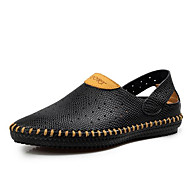 メンズ サンダル コンフォートシューズ ライト付きソール 穴の靴 レザー 春 カジュアル ブラック ブルー ライトブラウン ダークブラウン フラット