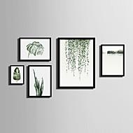 Пейзаж Цветочные мотивы/ботанический Холст в раме Набор в раме Предметы искусства,ПВХ материал Черный Без коврика с рамкой For Украшение