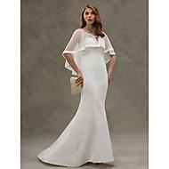 LAN TING BRIDE Trumpet / Mermaid Wedding Dress - Elegant & Luxurious See-Through Sweep / Brush Train Scoop Chiffon Tulle with Tiered