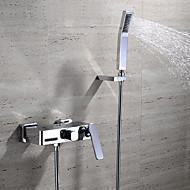 עכשווי מותקן על הקיר מפל with  שסתום קרמי שתי ידיות שלושה חורים for  כרום , ברז לאמבטיה