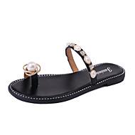 Women's Slippers & Flip-Flops Leatherette Summer Walking Low Heel Gold Black Under 1in