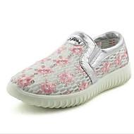 Women's Sneakers Walking Comfort Tulle Spring Summer Casual Outdoor Sequin Flower Flat Heel White Ruby 1in-1 3/4in