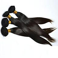 Cabelo Humano Cabelo Brasileiro Cabelo Humano Ondulado Liso Extensões de cabelo 4 Peças Preto