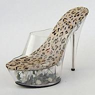 Femme Chaussures à Talons PVC Eté Automne Cristal Fleur Talon Aiguille Talon cristal Noir/Jaune Zébré Écran couleur 12 cm & plus