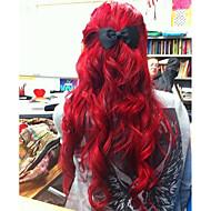 Mulher Perucas sintéticas Frente de Malha Médio Longo Ondulado Vermelho Riscas Naturais Peruca Natural Perucas para Fantasia
