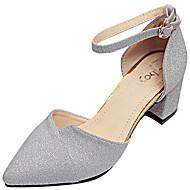 Feminino Sapatos Couro Ecológico Verão Sandálias Caminhada Salto de bloco Dedo Apontado Presilha Para Dourado Prata