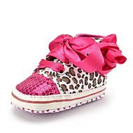 ילדים תינוק נעלי ספורט צעדים ראשונים סינטתי בד סתיו חורף קזו'אל שמלה מסיבה וערב צעדים ראשונים נצנצים עניבת פרפר הדפס חיות פרח עקב שטוח
