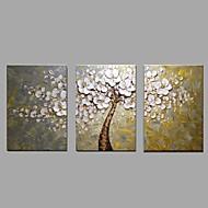 Maalattu Kukkakuvio/Kasvitiede Vaakasuora,Moderni Pastoraali 3 paneeli Kanvas Hang-Painted öljymaalaus For Kodinsisustus